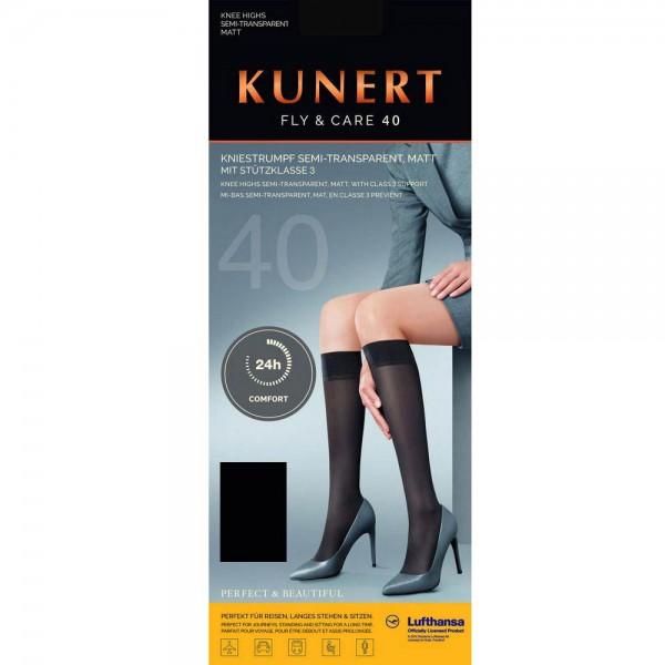 KUNERT - Fly & Care 40 - Shaping-Kniestrumpf - Schwarz
