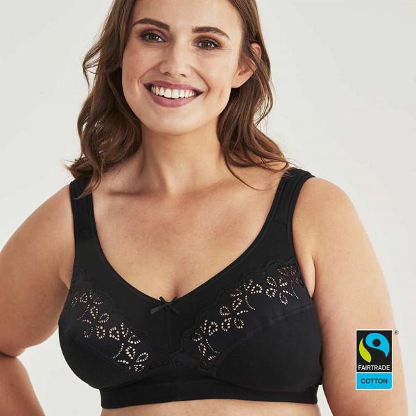 Fairtrade Entlastungs-BH Modell Traesure in Farbe schwarz von Swegmark in der Vorderansicht