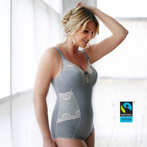Fairtrade-Body von Swegmark Modell Faithful in Farbe grau