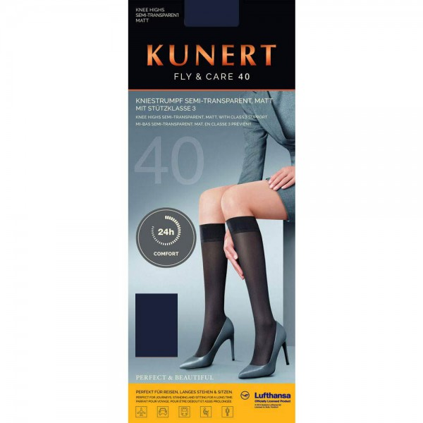 KUNERT - Fly & Care 40 - Shaping-Kniestrumpf - Marine